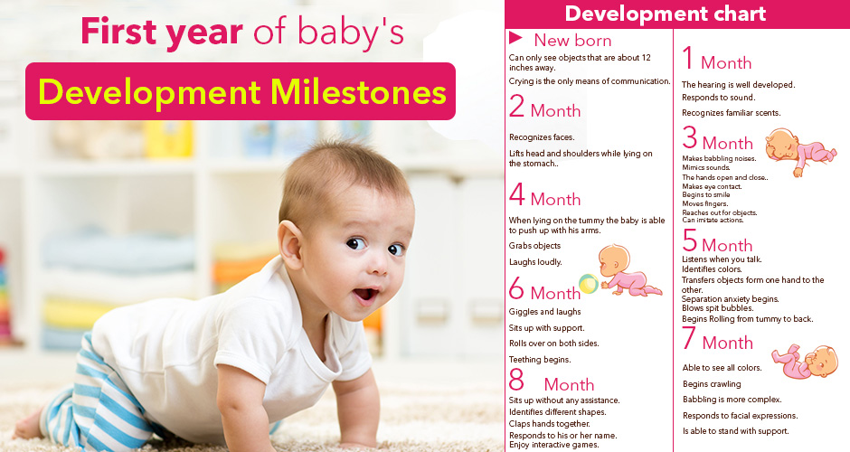 First year of baby's development milestones (Month by Month)