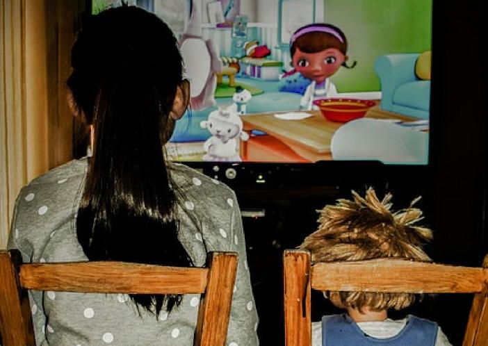 watching cartoons