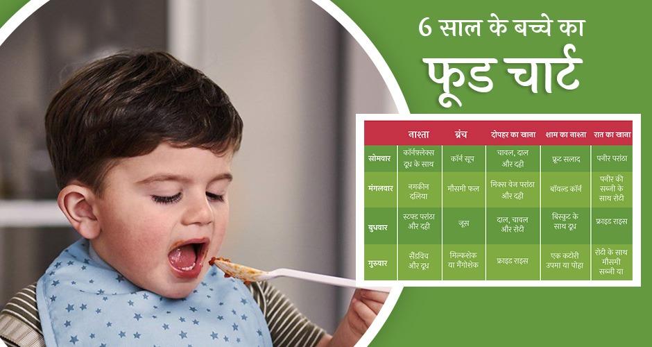 6 साल के बच्चे का फूड चार्ट या आहार चार्ट