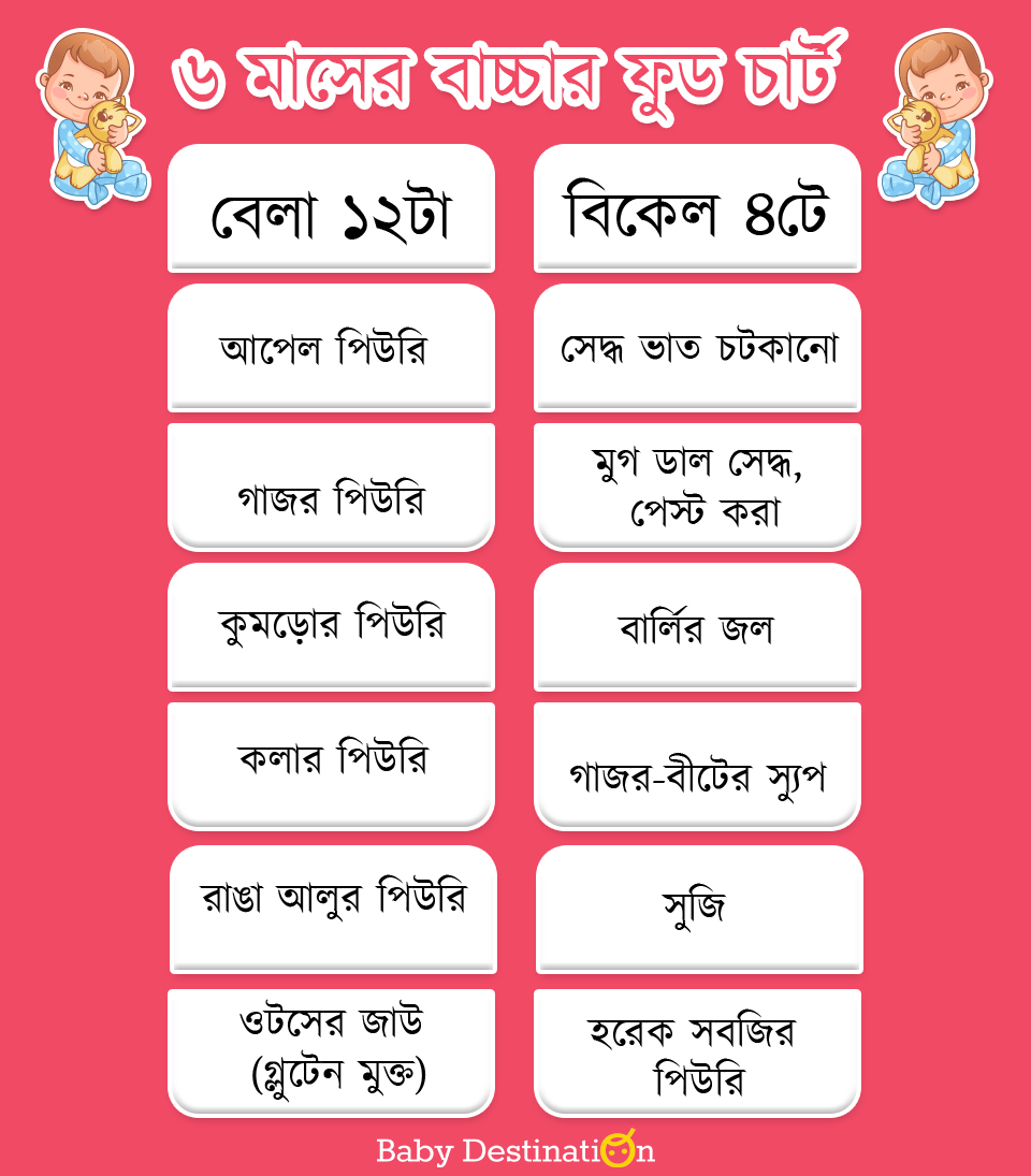 6 Months Baby Food Chart in Bengali